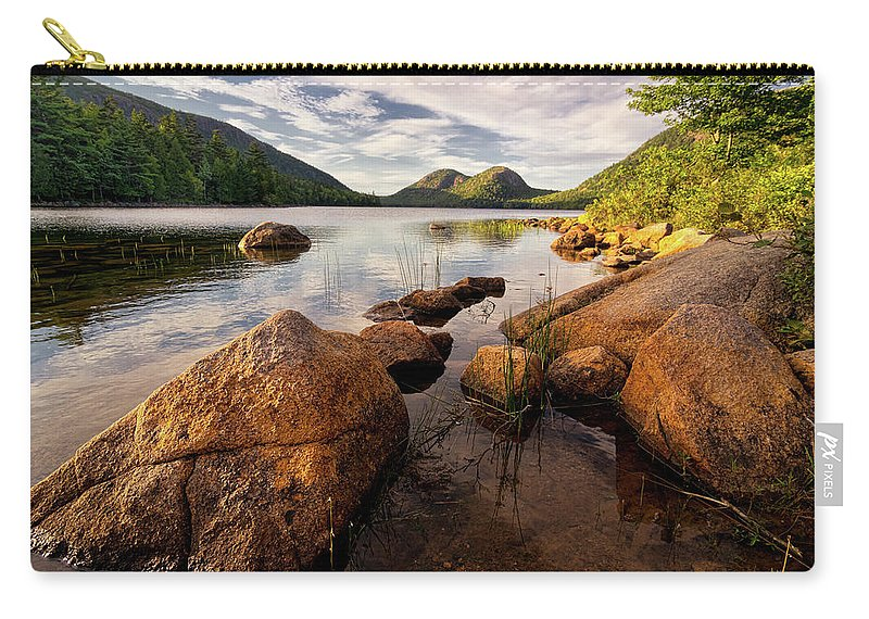 Scenics Carry-all Pouch featuring the photograph Jordan Pond Rocks by Www.cfwphotography.com