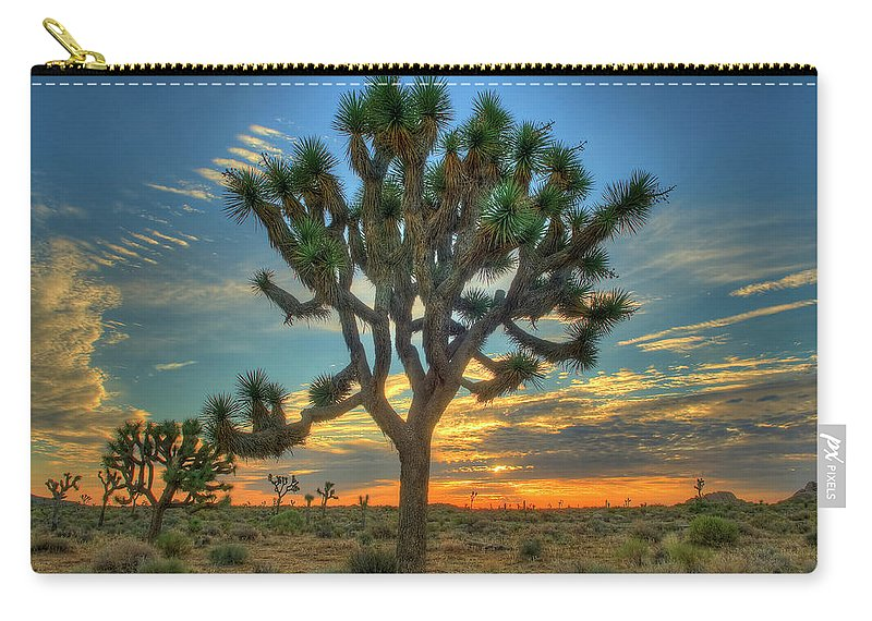 Scenics Carry-all Pouch featuring the photograph Joshua Tree At Sunrise by Photograph By Kyle Hammons