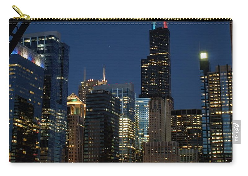 Chicago River Carry-all Pouch featuring the photograph July Night Chicago River Skyline by Igermz