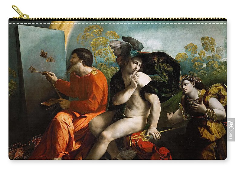 Dosso Dossi Carry-all Pouch featuring the painting Jupiter Mercury And Virtus Or Virgo by Dosso Dossi