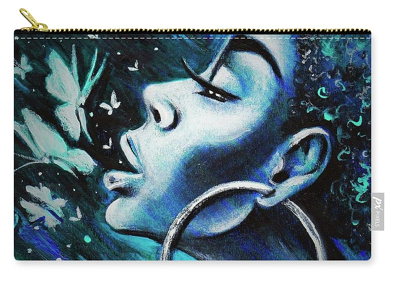 Artbyria Carry-all Pouch featuring the drawing Just Breathe by Artist RiA