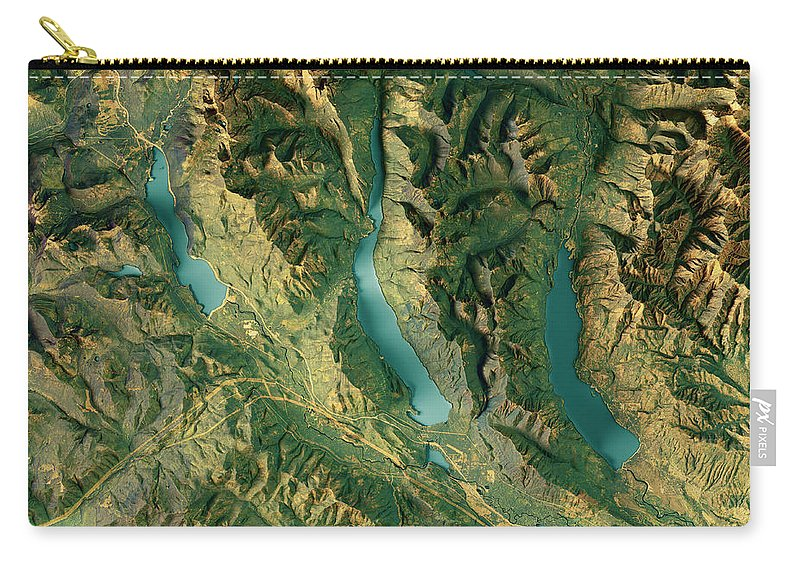 Kachess Lake Carry-all Pouch featuring the digital art Kachess Lake 3d Render Topographic Map Color by Frank Ramspott