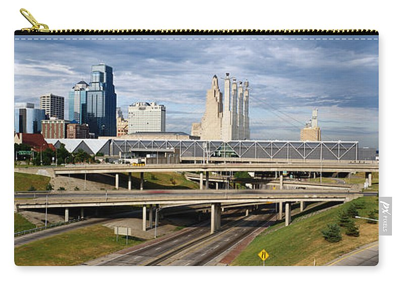 Panoramic Carry-all Pouch featuring the photograph Kansas City Skyline, Missouri by Jeremy Woodhouse