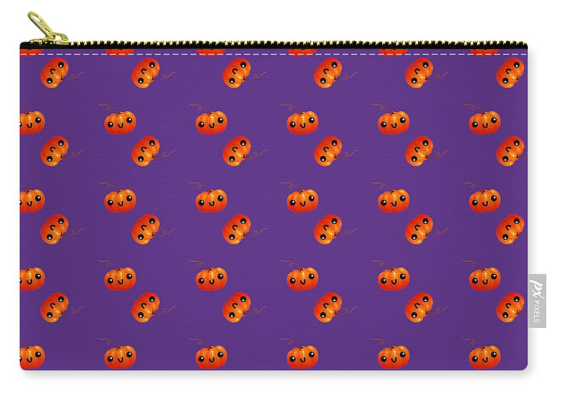 Kawaii Carry-all Pouch featuring the digital art Kawaii Pumpkin Purple by Alejandra Ortega