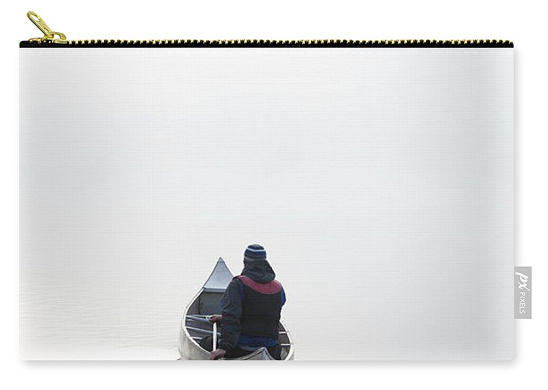Scenics Carry-all Pouch featuring the photograph Kayaking In The Morning Mist by Ross Woodhall