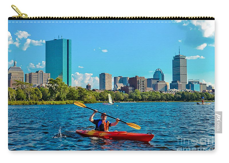Kayak Carry-all Pouch featuring the photograph Kayaking On The Charles by SoxyGal Photography