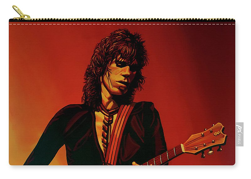Keith Richards Carry-all Pouch featuring the painting Keith Richards 3 by Paul Meijering