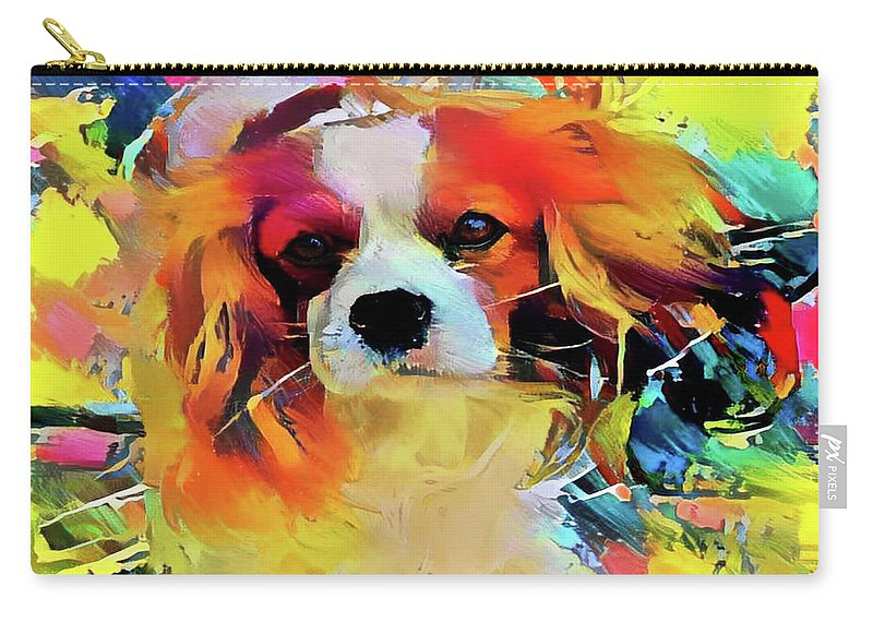 King Charles Spaniel Carry-all Pouch featuring the mixed media King Charles Spaniel On The Move by Peggy Collins