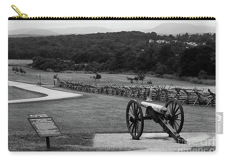 Gettysburg Battlefield Carry-all Pouch featuring the photograph King William Artillery Marker In Black And White Gettysburg by James Brunker