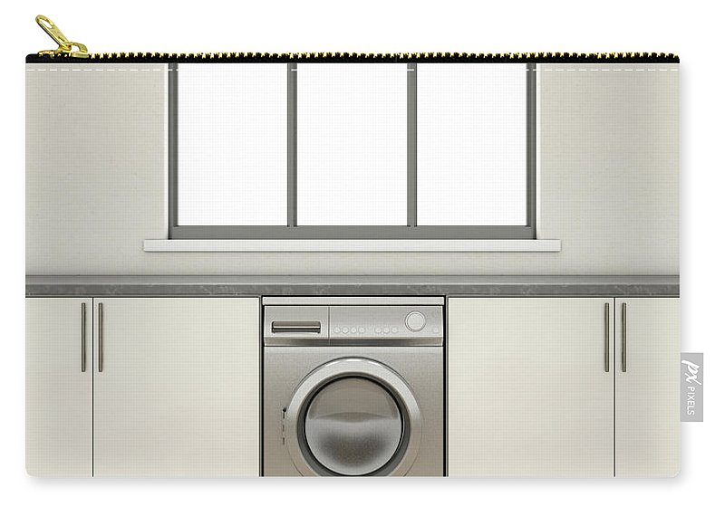 Washing Machine Carry-all Pouch featuring the digital art Kitchen And Cupboards by Allan Swart