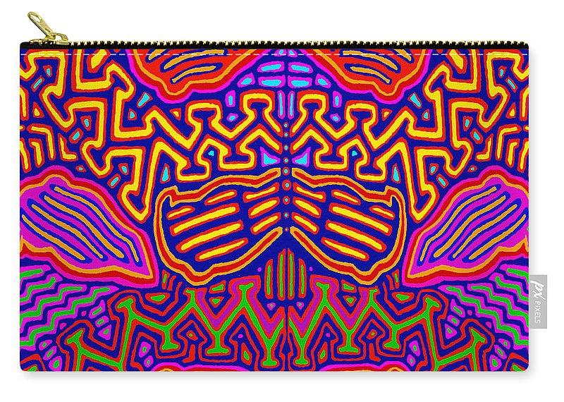 San Blas Folk Art Carry-all Pouch featuring the digital art Kuna Butterfly by Vagabond Folk Art - Virginia Vivier
