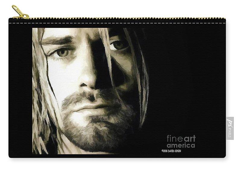 David Conin Carry-all Pouch featuring the digital art Kurt Cobain by David Conin