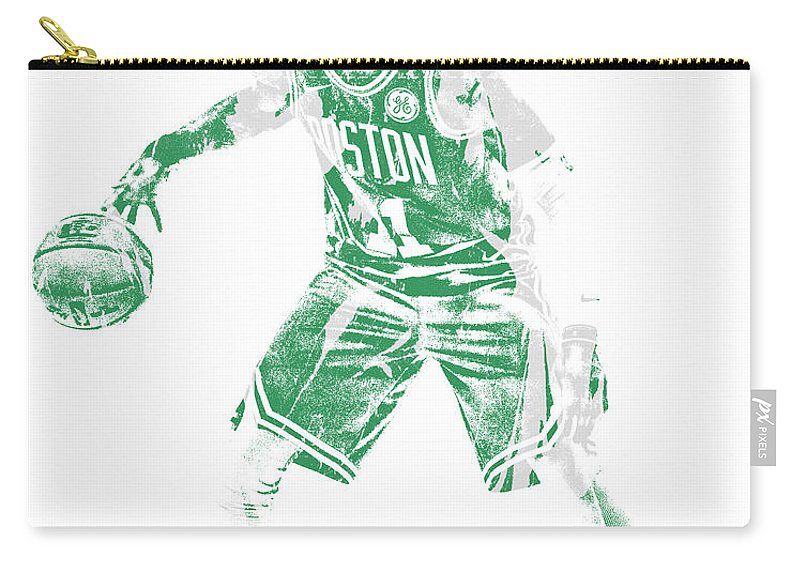 Kyrie Irving Carry-all Pouch featuring the mixed media Kyrie Irving Boston Celtics Pixel Art 72 by Joe Hamilton