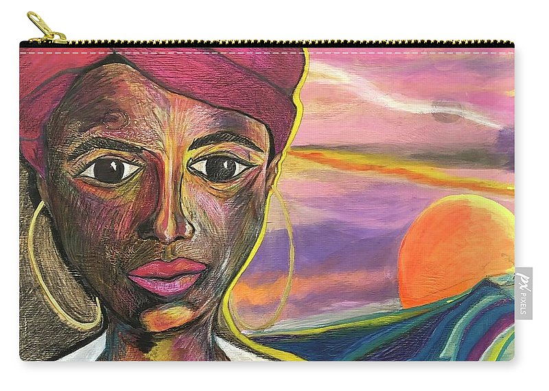 Sun Carry-all Pouch featuring the painting La Mujer Del Sol by Che' La'Mora