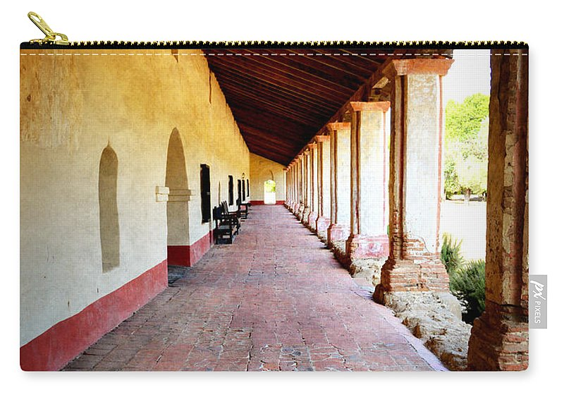 Mission Carry-all Pouch featuring the photograph La Purisima Mission Colonade by Glenn McCarthy Art and Photography