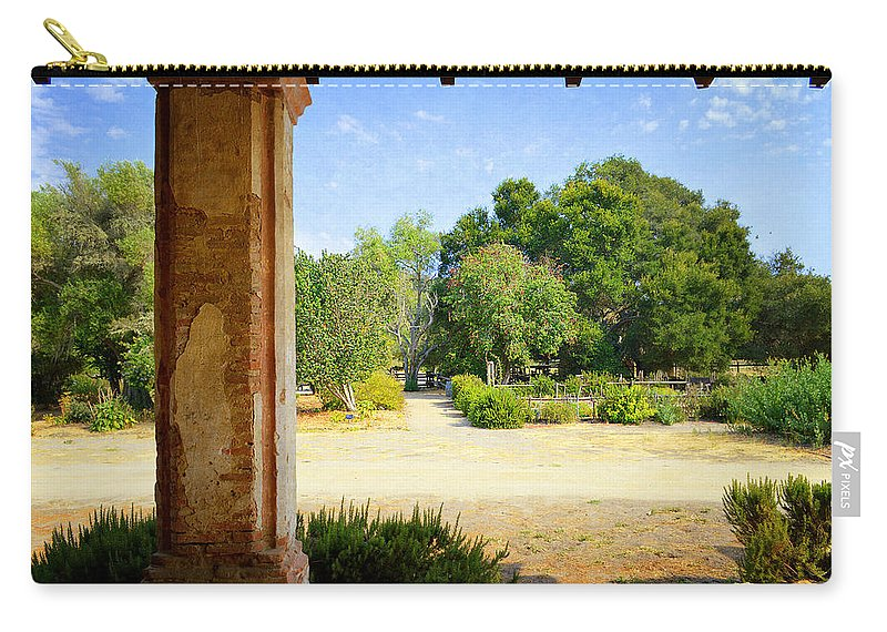 Mission Carry-all Pouch featuring the photograph La Purisima Mission Garden From The Arcade by Glenn McCarthy Art and Photography
