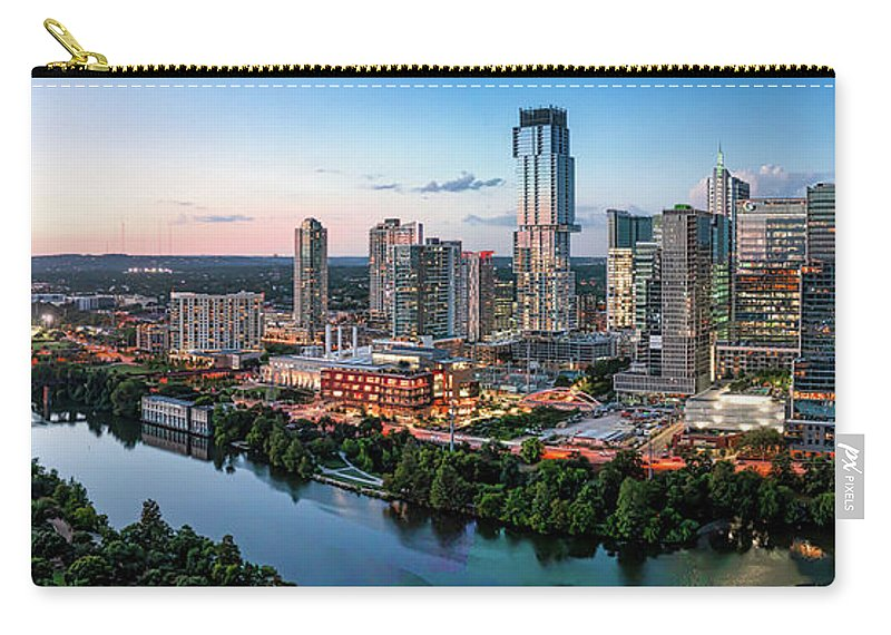 Austin Skyline Carry-all Pouch featuring the photograph Lady Bird Lake At Dusk by Bee Creek Photography - Tod and Cynthia