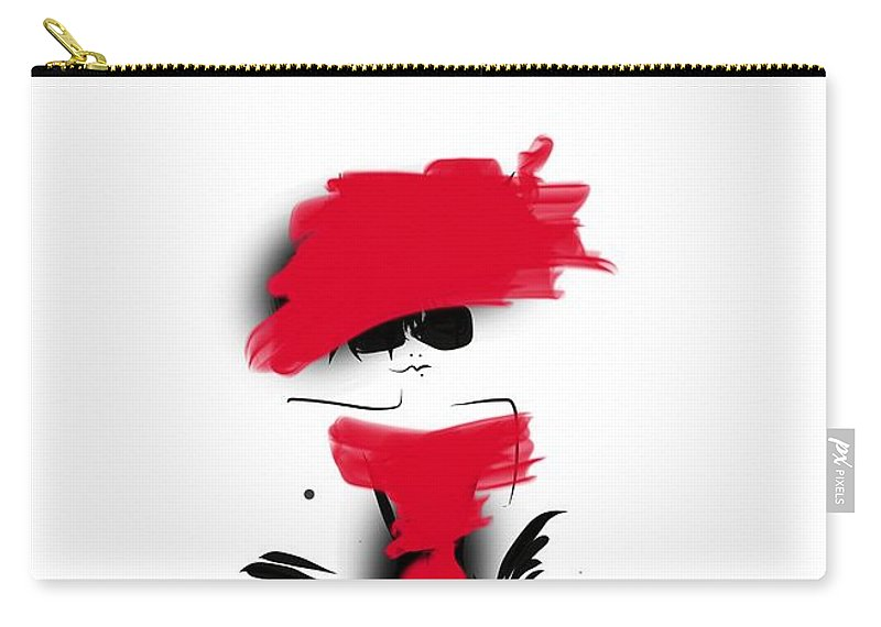 Fashion Design Carry-all Pouch featuring the digital art Lady In Her Red Dress by Peta Brown