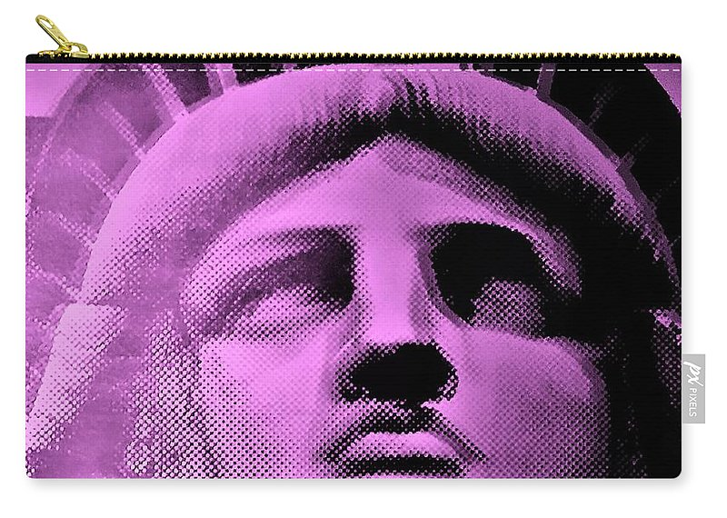 Statue Of Liberty Carry-all Pouch featuring the photograph Lady Liberty In Pink by Rob Hans