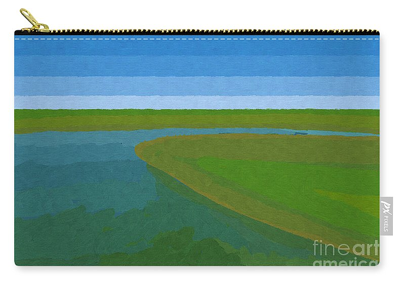 Pflugerville Carry-all Pouch featuring the painting Lake Pflugerville Abstract Landscape by D Tao