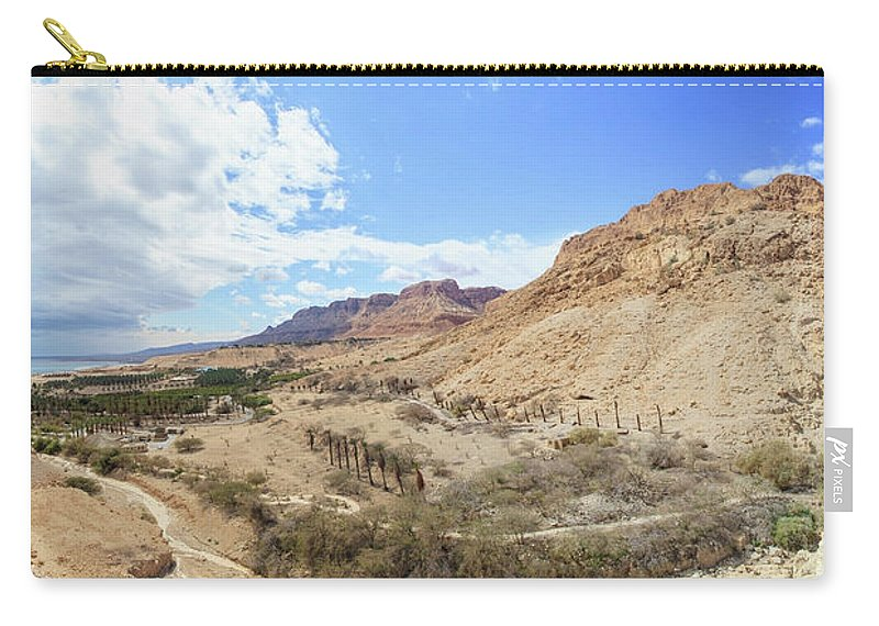 Extreme Terrain Carry-all Pouch featuring the photograph Landscape Of The Jordan Valley And The by Reynold Mainse / Design Pics