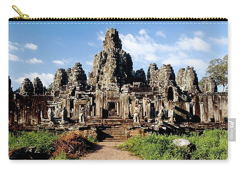 Scenics Carry-all Pouch featuring the photograph Landscape Photo Of Bayon Temple In by Laughingmango
