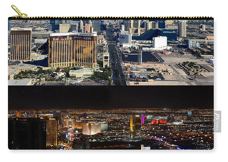 Las Vegas Nevada Carry-all Pouch featuring the photograph Las Vegas Night And Day Work A by David Lee Thompson