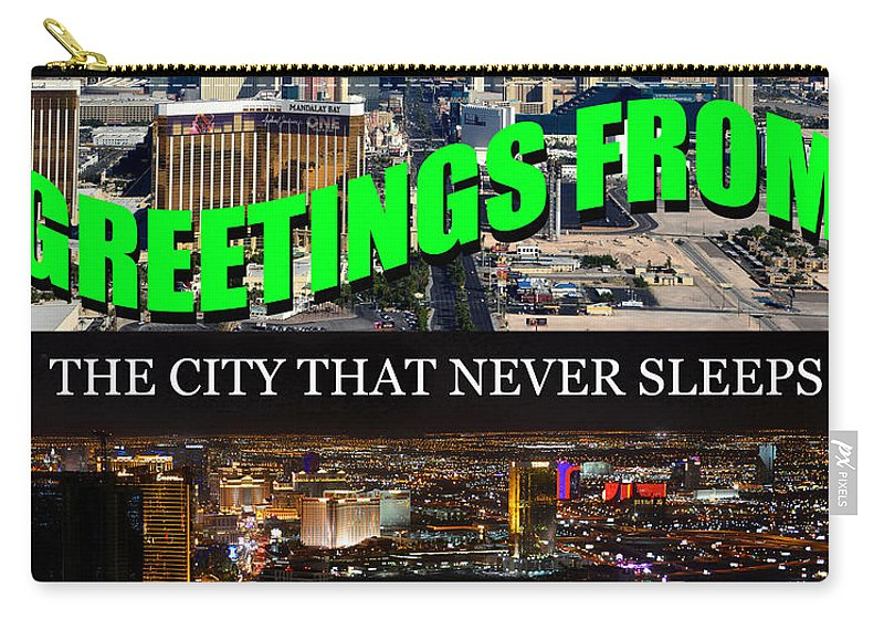 Custom Poste Card Carry-all Pouch featuring the photograph Las Vegas The City That Never Sleeps Custom Pc by David Lee Thompson