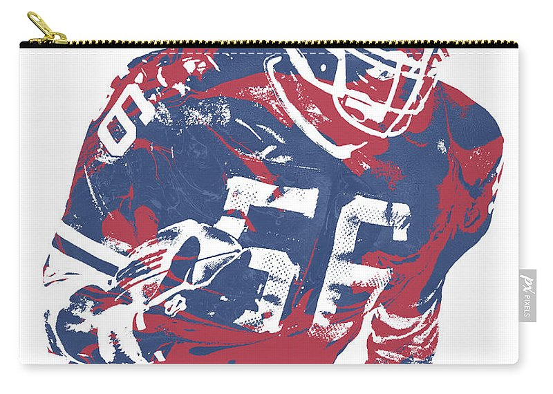 Lawrence Taylor Carry-all Pouch featuring the mixed media Lawrence Taylor New York Giants Pixel Art 5 by Joe Hamilton