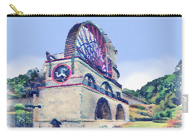 Laxey Carry-all Pouch featuring the digital art Laxey Wheel 6 by Digital Painting