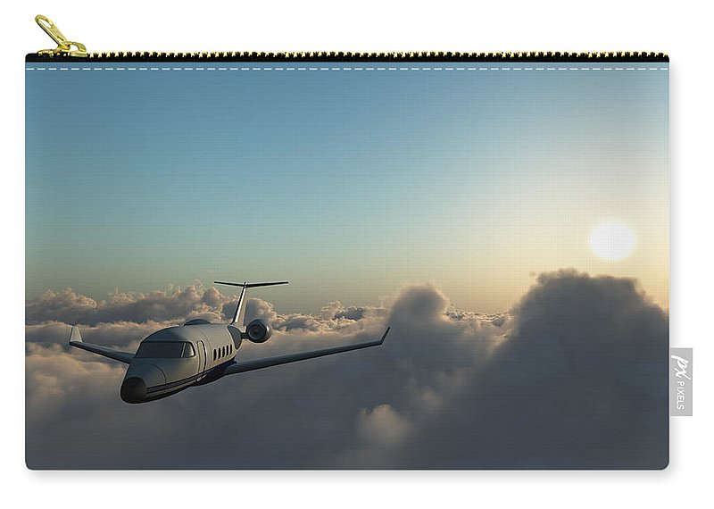 Mid-air Carry-all Pouch featuring the photograph Learjet 60 Above The Clouds by Joelena