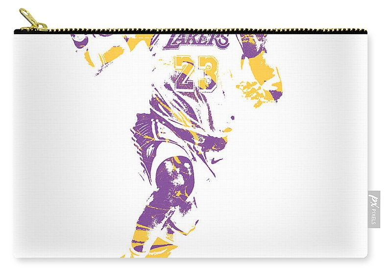 Lebron James Carry-all Pouch featuring the mixed media Lebron James Los Angeles Lakers Pixel Art 2 by Joe Hamilton