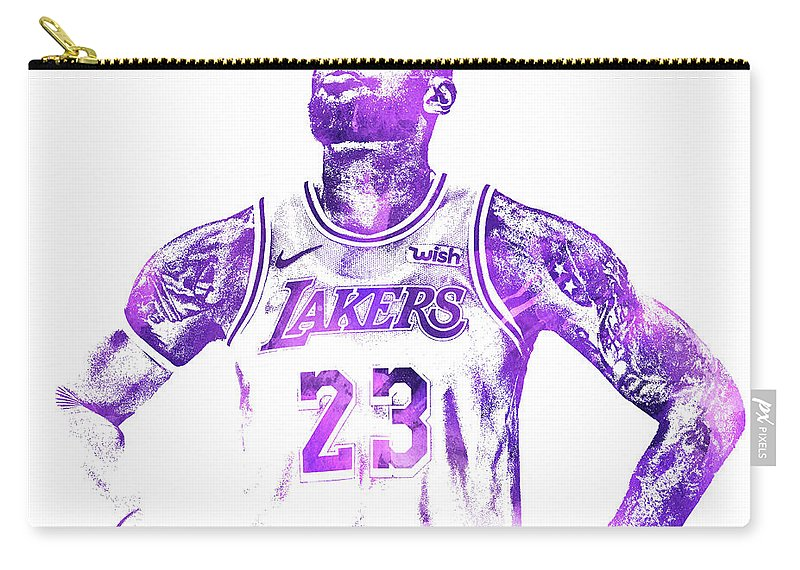 Lebron James Carry-all Pouch featuring the mixed media Lebron James Los Angeles Lakers Water Color Pixel Art 30 by Joe Hamilton