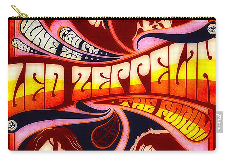 Poster Carry-all Pouch featuring the digital art Led Zeppelin 72 Tour by Steven Parker
