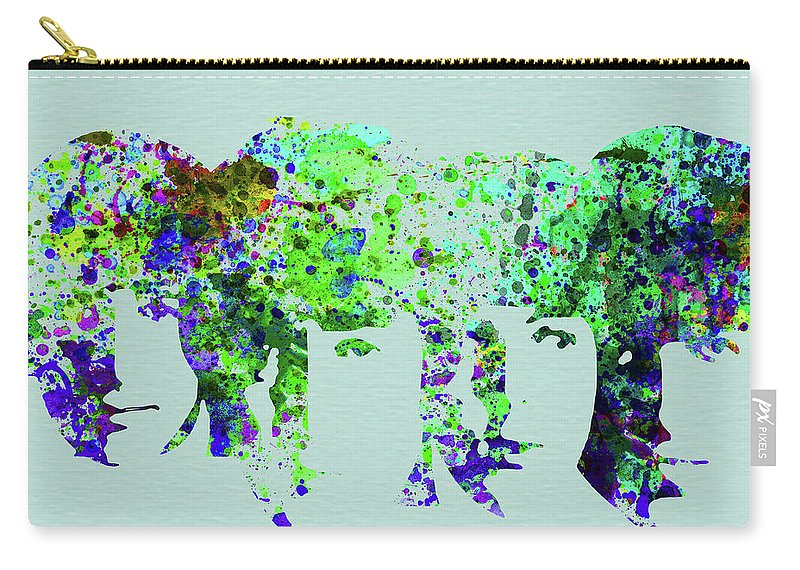 Beatles Carry-all Pouch featuring the mixed media Legendary Beetles Watercolor II by Naxart Studio