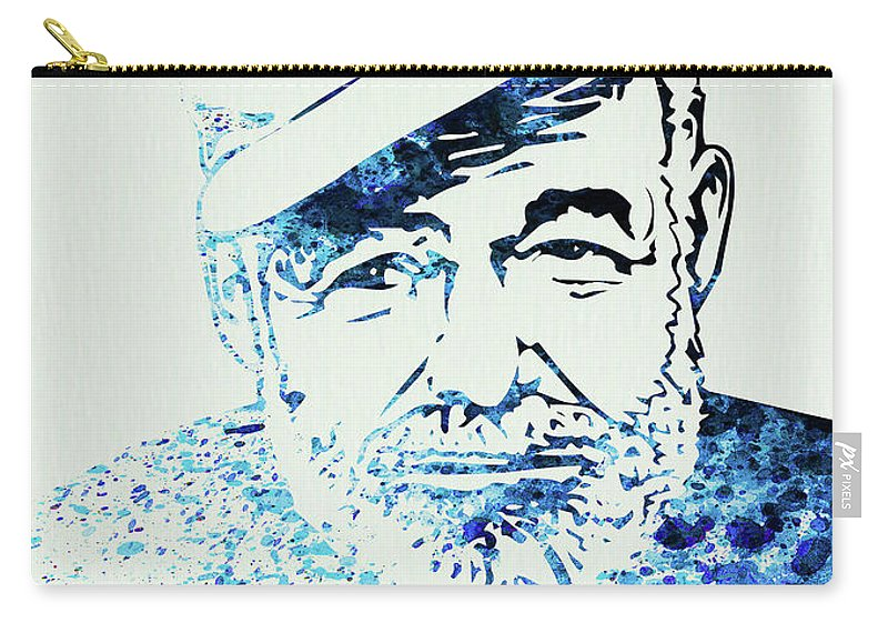 Hemingway Carry-all Pouch featuring the mixed media Legendary Hemingway Watercolor by Naxart Studio