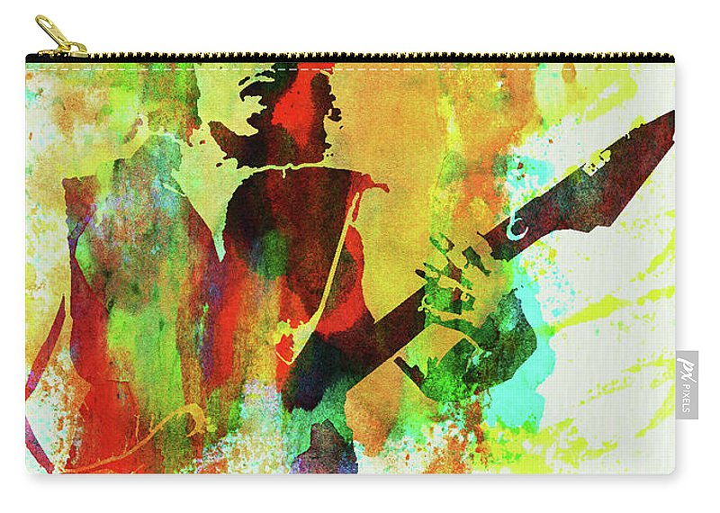 Kirk Hammett Carry-all Pouch featuring the mixed media Legendary Kirk Hammett Watercolor by Naxart Studio