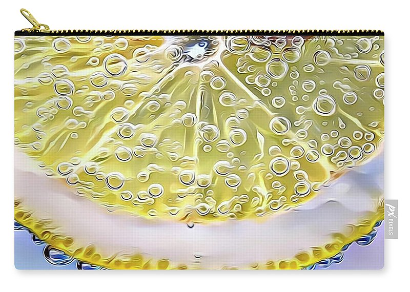Lemon Carry-all Pouch featuring the digital art Lemon Slice by Russ Carts
