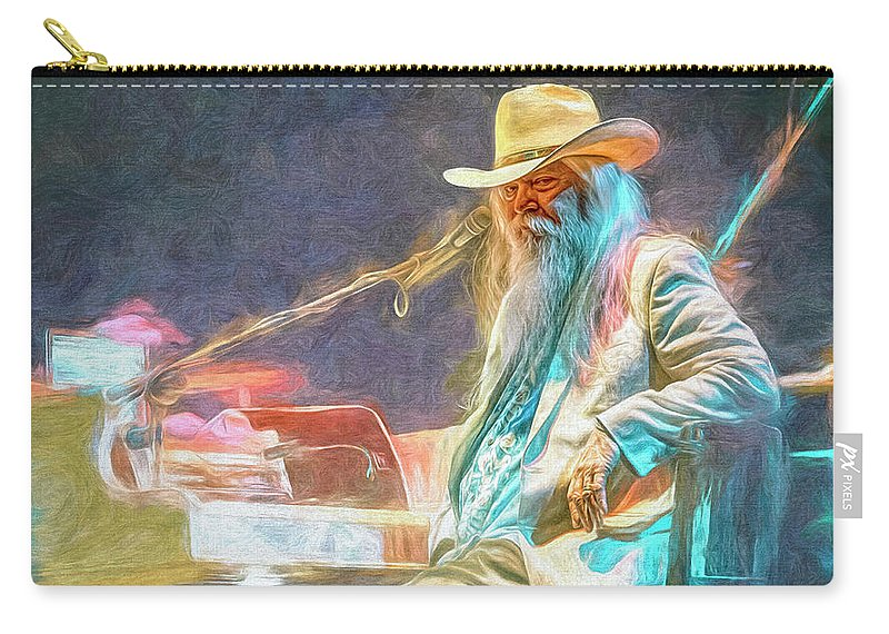 Leon Russell Carry-all Pouch featuring the mixed media Leon Russell by Mal Bray