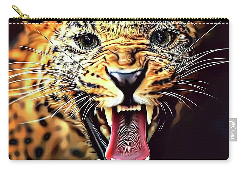 Leopard Carry-all Pouch featuring the digital art Leopard 2 by Russ Carts