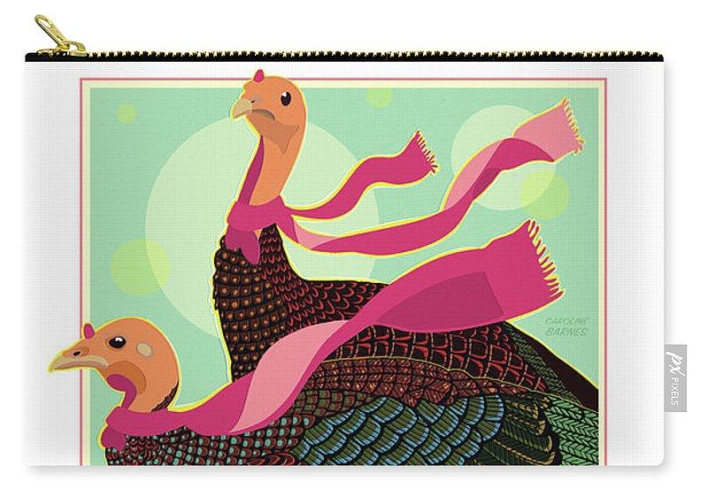 Brookline Turkeys Carry-all Pouch featuring the digital art Les Foulards De Cambridge by Caroline Barnes