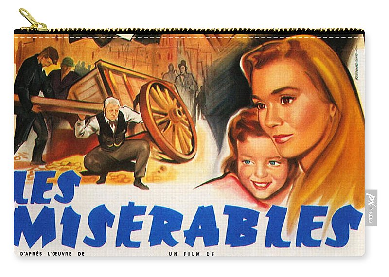 Les Miserables Carry-all Pouch featuring the mixed media Les Miserables 1958 French Movie Classic by Zal Latzkovich