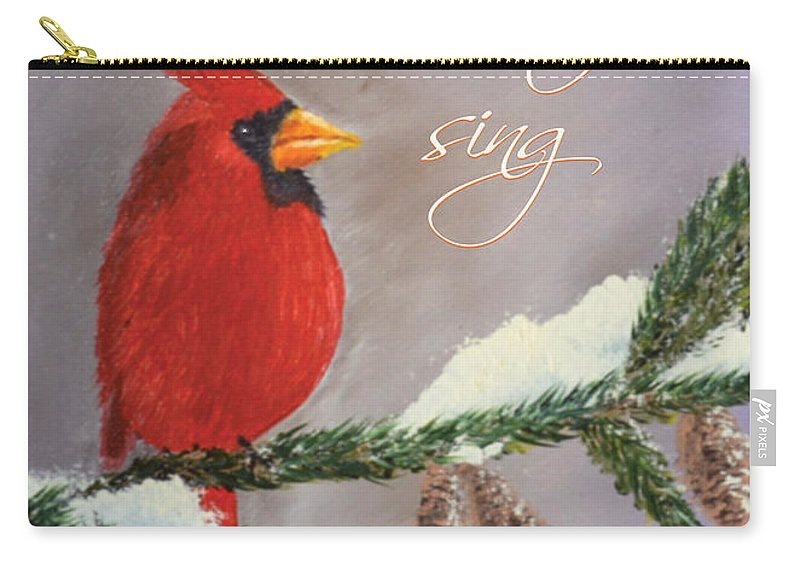 Cardinal Carry-all Pouch featuring the painting Let Heaven And Nature Sing by Julie Webb