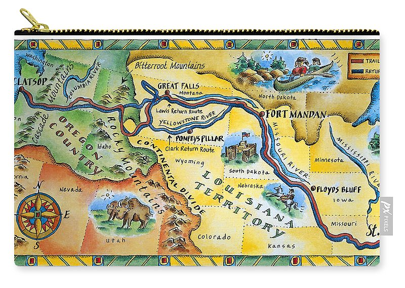 Watercolor Painting Carry-all Pouch featuring the digital art Lewis & Clark Expedition Map by Jennifer Thermes
