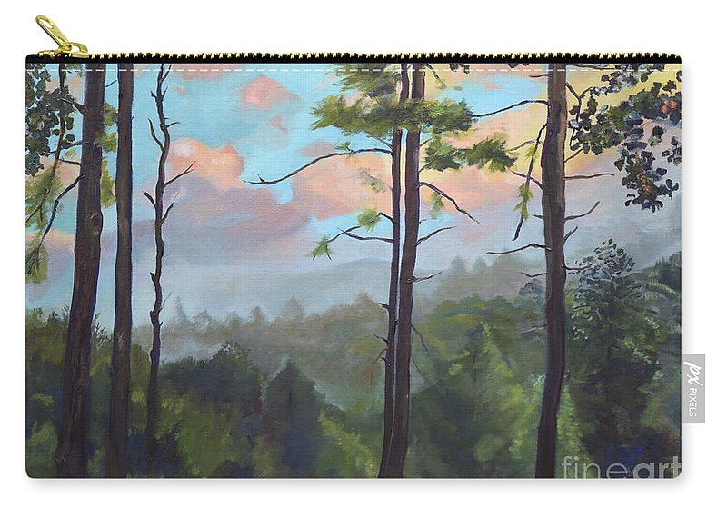 Pink Knob Mountain Carry-all Pouch featuring the painting Lifting My Soul At Pink Knob - In Elliay by Jan Dappen