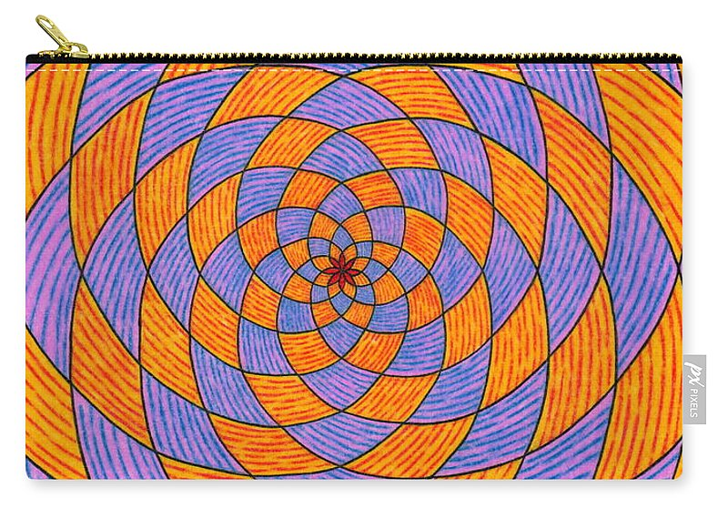 Fractal Art Carry-all Pouch featuring the painting Light Violet On Blue, Yellow On Red Fractal Pattern by Joney Jackson