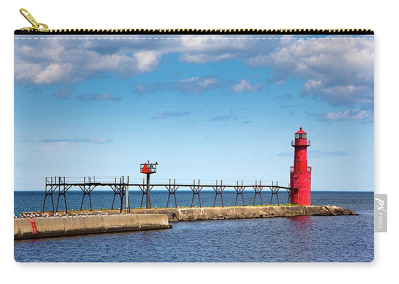 Lake Michigan Carry-all Pouch featuring the photograph Lighthouse And Pier On Lake Michigan by Jamesbrey