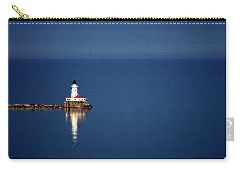 Outdoors Carry-all Pouch featuring the photograph Lighthouse On A Lake by By Ken Ilio