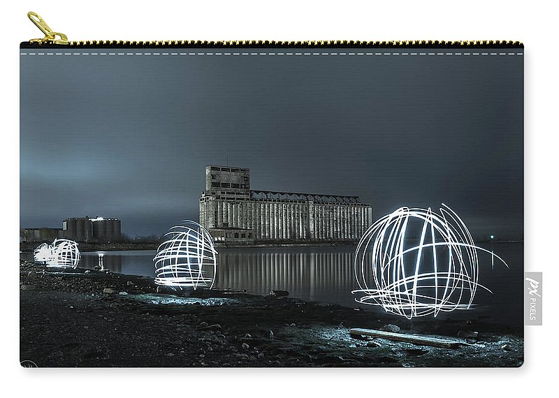 Galagher Pier Carry-all Pouch featuring the photograph Lights in the Night by Dave Niedbala