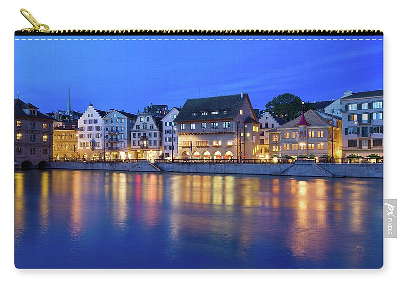 Zurich Carry-all Pouch featuring the photograph Limmat River Waterfront In Downtown by Benedek